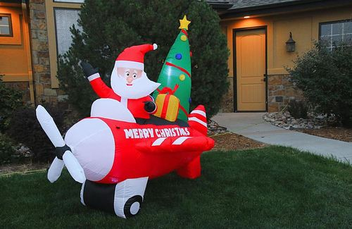 Novelty Lights - 8' Inflatable Santa in Airplane - Red