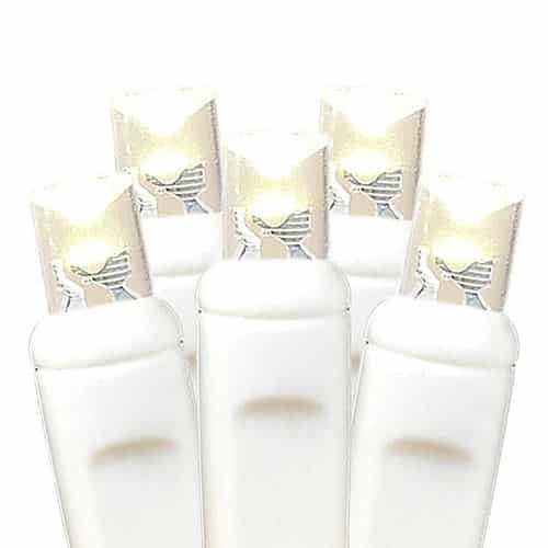 Novelty Lights - Commercial Grade Wide Angle 100 LED Warm White on White Wire 50' Long - Warm White