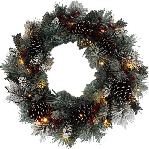 """Lloyd & Hannah 24"""" Frosted Pine Prelit Artificial Wreath with Pinecones & Red Berries - Green"""