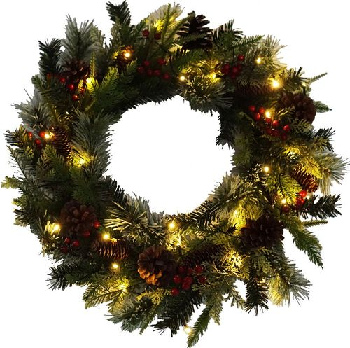 """Lloyd & Hannah 24"""" Mixed Pine Prelit Artificial Wreath with Pinecones & Red Berries - Green"""